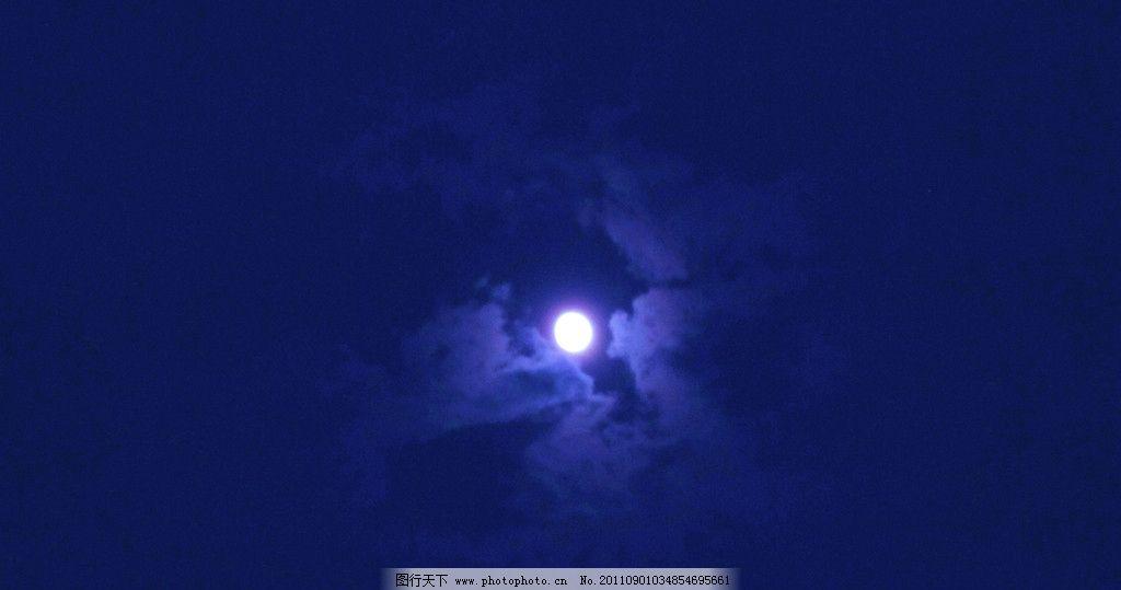 月亮 湘潭白石公园 夜晚 高高 挂在 天空 云层 云朵 云彩 雨后 自然