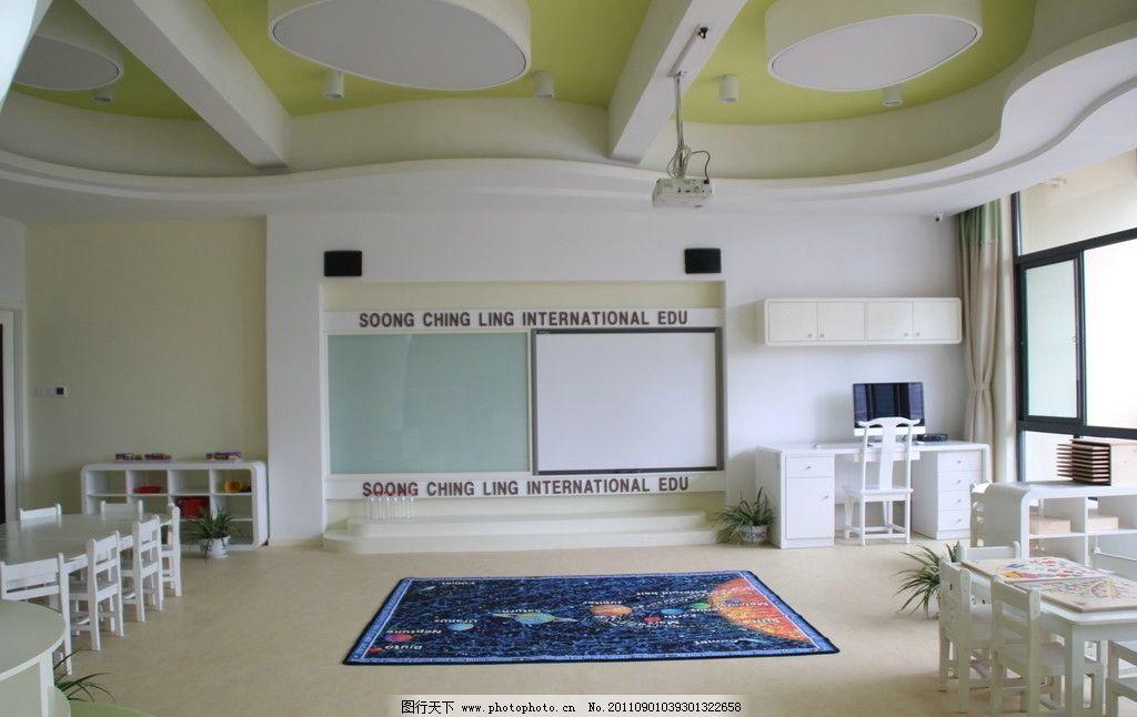 幼儿园效果图 幼儿园        幼儿园模型 课桌 课堂 教室 手绘墙 环境