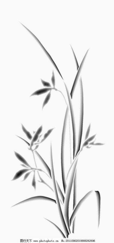 玉雕兰花灰度图 兰花 传统文化 文化艺术 设计 bmp