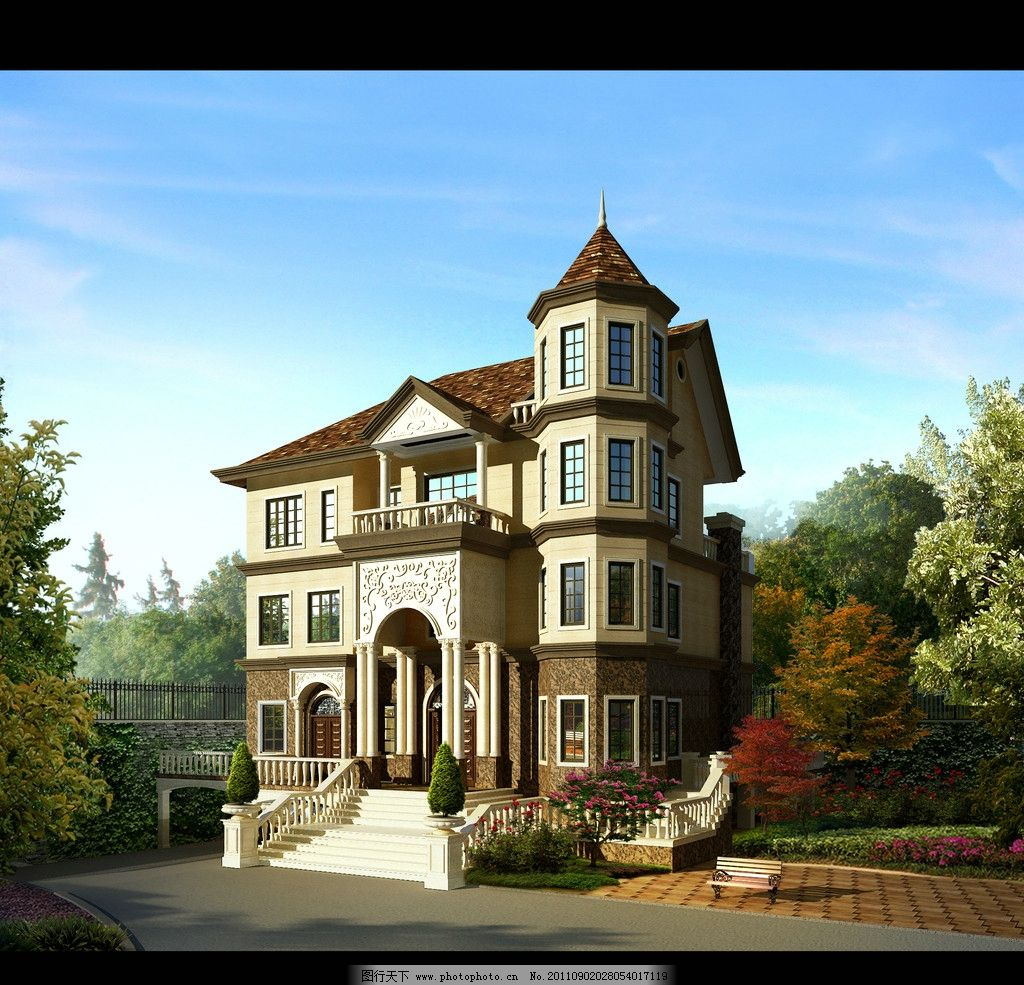 欧式别墅3d效果图 漂亮的欧式外观 别墅 建筑设计 环境设计 设计 72dp