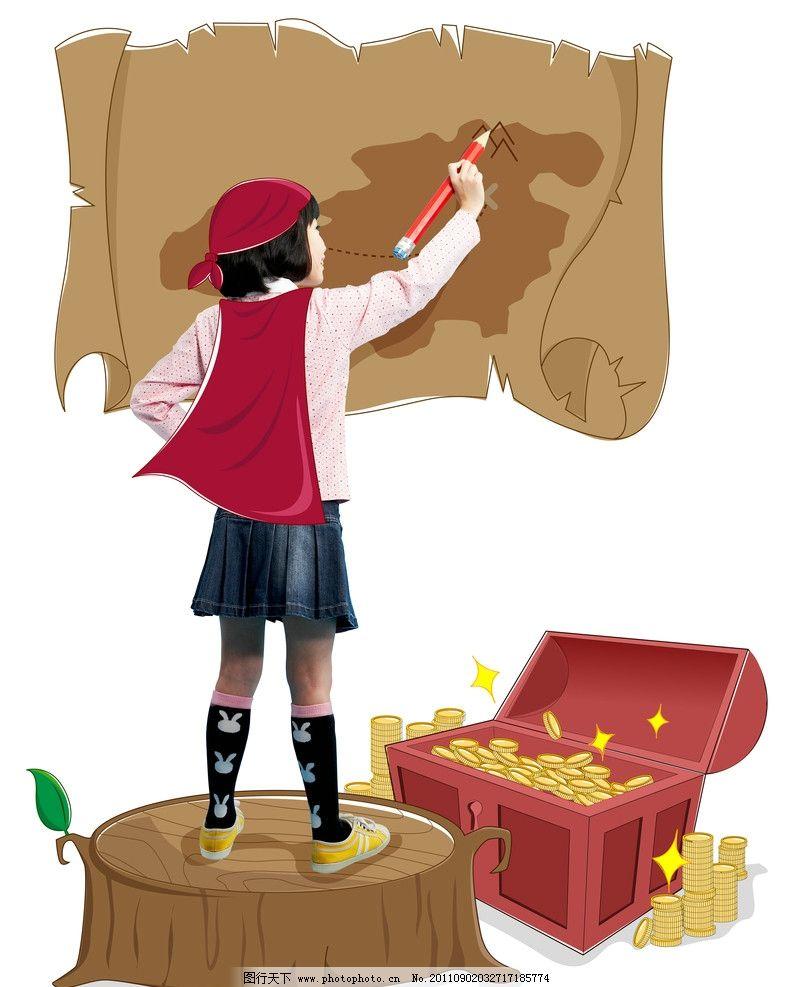 小小梦想家 梦想家 画画的女孩 儿童 小女孩 宝藏 树桩 画布 笔 相片