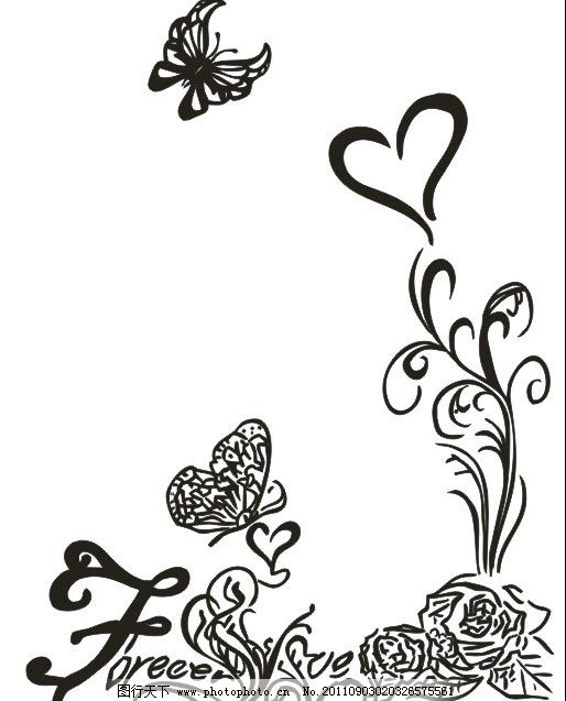 蝴蝶花纹 蝴蝶 花纹 心 矢量图 cdr 素材 线条图 花纹花边 底纹边框-花纹