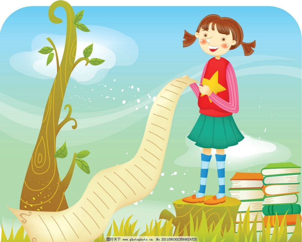 可爱儿童素材 书本 绿树 孩童 学生 玩耍 幼儿园 小朋友 椰子树
