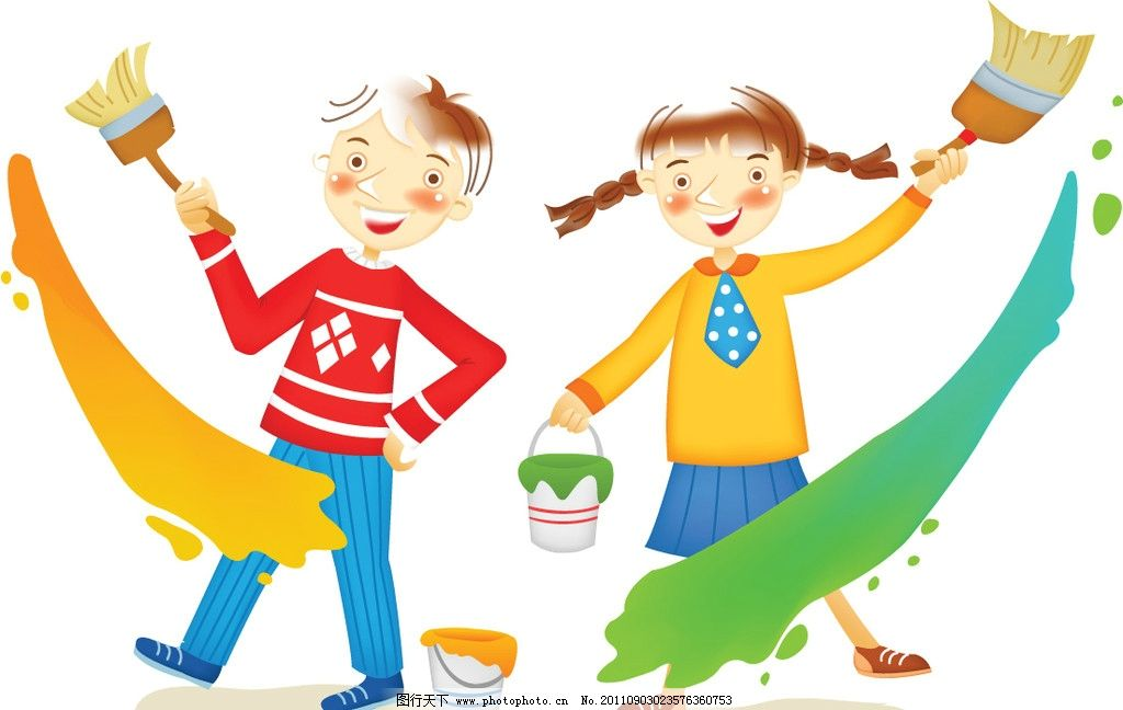 涂鸦 油彩 孩童 学生 玩耍 小朋友 幼儿园墙体 快乐童年 背景 卡通
