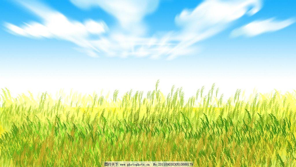 蓝天 白云 草地图片