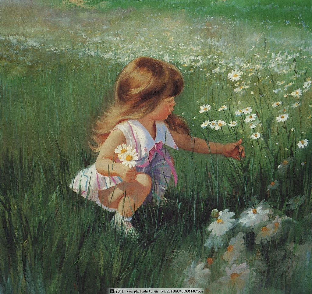 法国儿童水彩画 法国水彩画 小女孩 采花的小女孩 儿童素材 草地上的