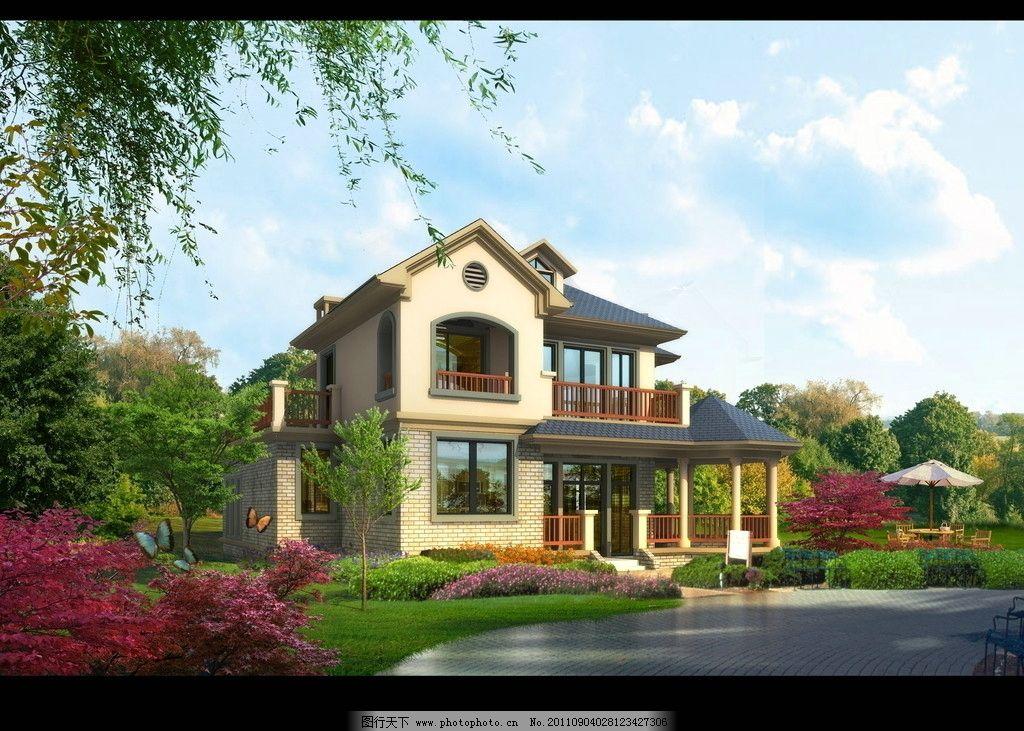 别墅景观效果图图片_景观设计_环境设计_图行天下图库