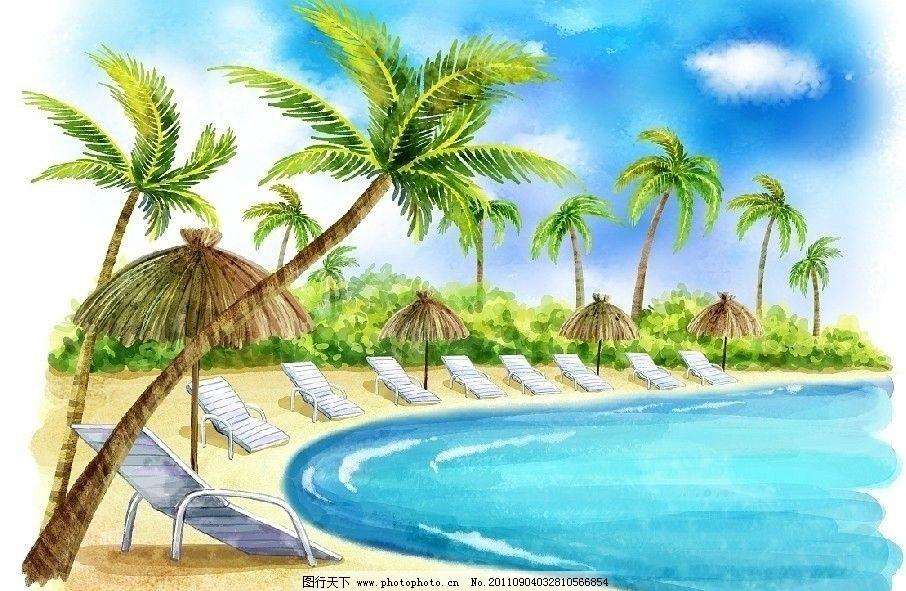 夏天大海椰子树
