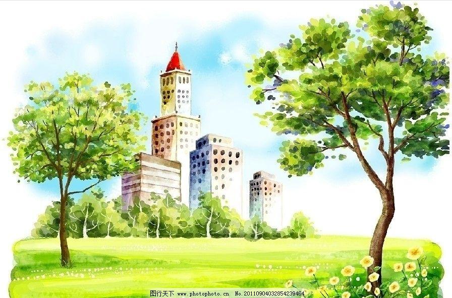 花园 城堡 草地 房屋 田园风光 蓝天白云 韩国插画 手绘插画 春天插画