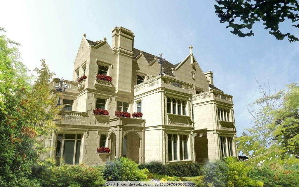 双拼别墅 别墅设计 欧式风格 效果图