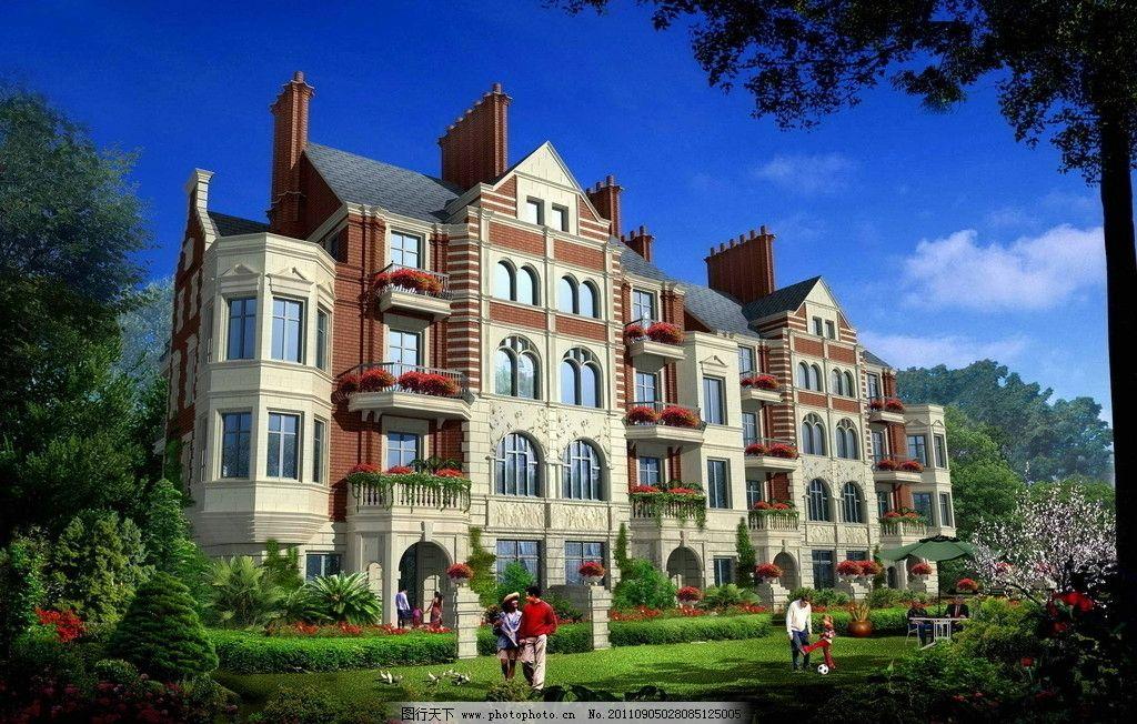 叠拼别墅 叠加别墅 花园洋房 别墅 别墅设计 欧式风格 建筑设计 jpg