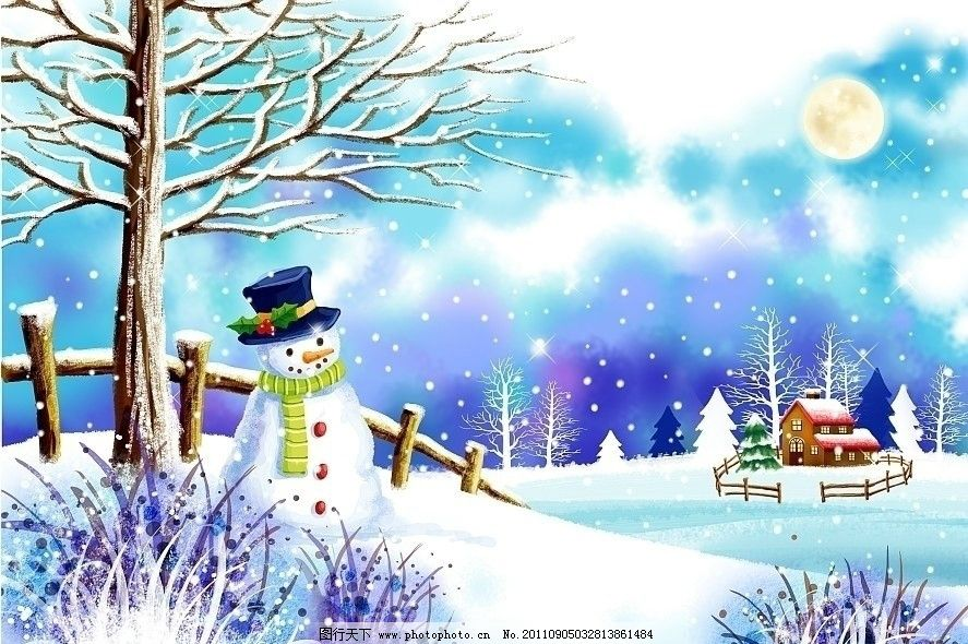 冬天风景插画 雪人 下雪 雪山 雪树 房屋 月光 冬日田园风光 韩国插画