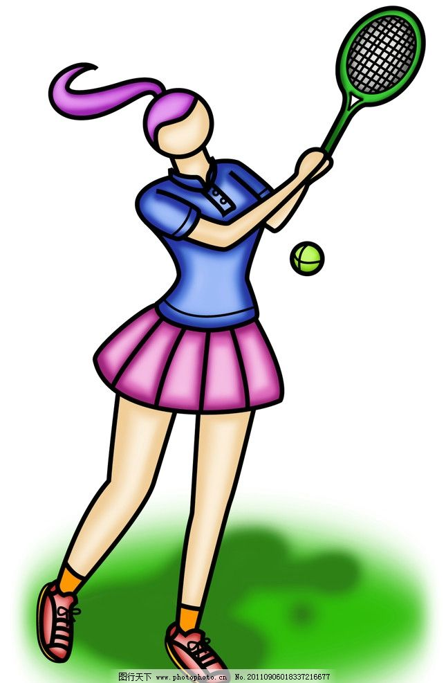 体育运动 网球 体育 运动 女 动漫人物 动漫动画 设计 300dpi jpg