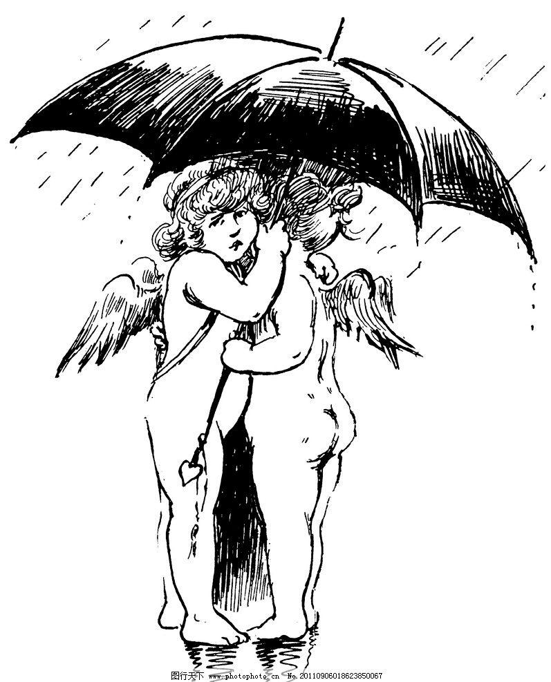 动漫坠天使翅膀手绘
