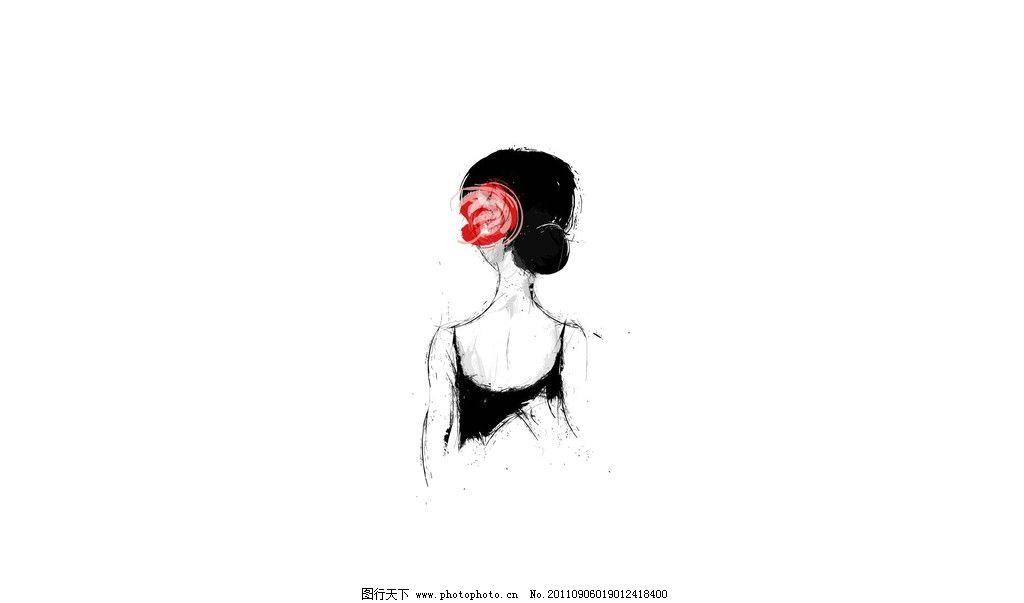 手绘女性背影 手绘线条 女性 背影 红花 黑白 红 盘发 绘画书法 文化