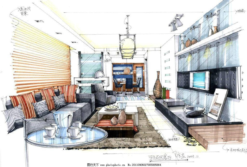 客厅马克笔手绘效果图      马克笔 手绘 室内设计 环境设计 设计 72