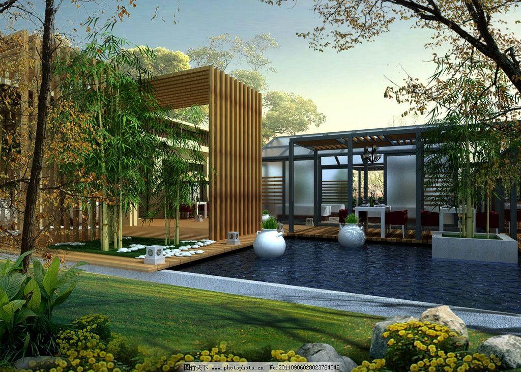 露天餐厅 室外设计 露天餐厅侧面透视 水 竹子 竹叶 餐桌 草坪 花