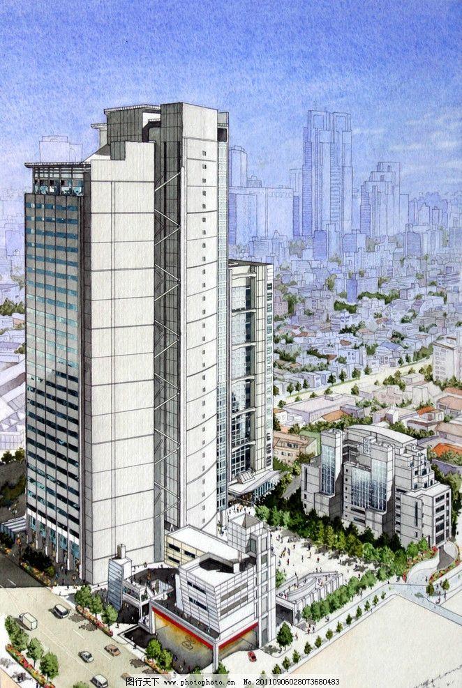 马克笔建筑手绘效果图 马克笔 建筑 手绘 大楼 城市建筑 建筑设计