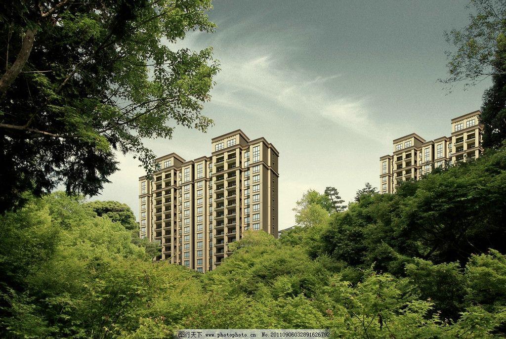 公园 高楼 高层 树木 天空 楼房 ps分层图 风景 psd分层素材 源文件