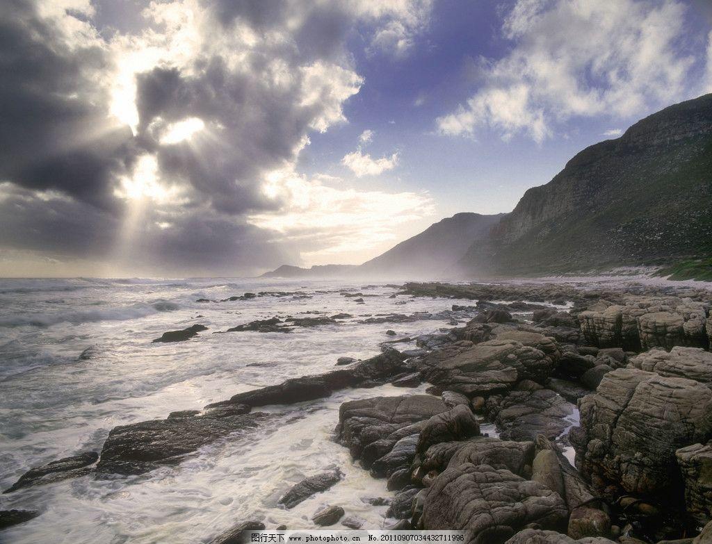 海边岩石 岩石近景 海景 乌云 云朵 阳光照射 大海 海 海浪 岩石 大山