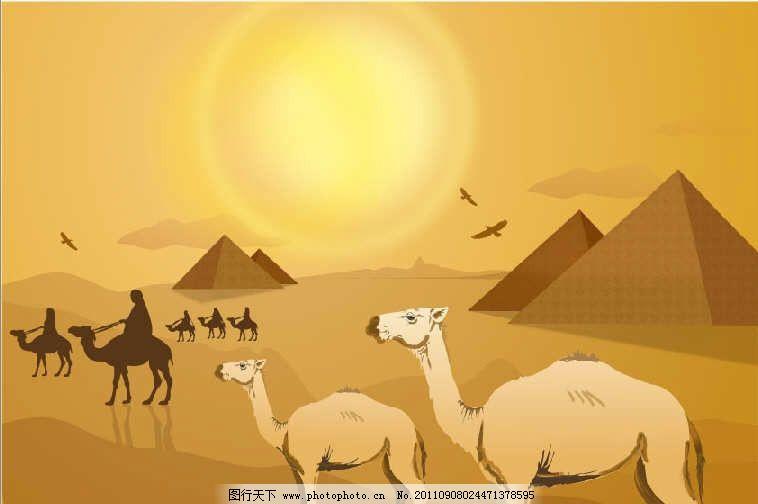 沙漠之舟 骆驼 金字塔 大漠 荒漠 野生动物 生物世界 矢量 ai