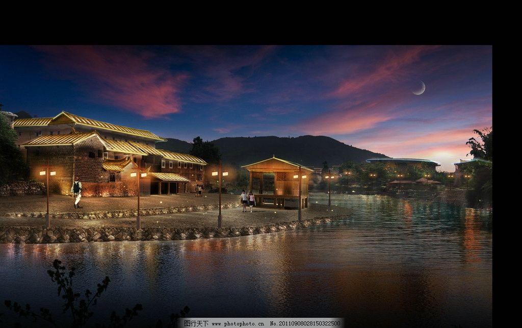 灯笼 灯光 景观效果图 景观设计 室外模型 背背包的人 云彩 水塘 夜晚