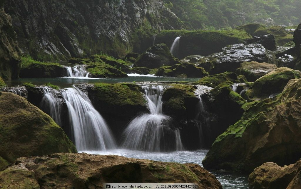 溪水 瀑布 山水风景 自然景观 摄影 72dpi jpg