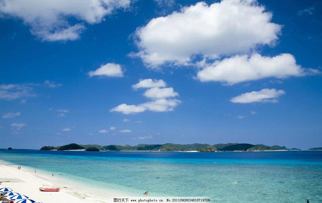蓝天白云 大海 沙滩 摄影