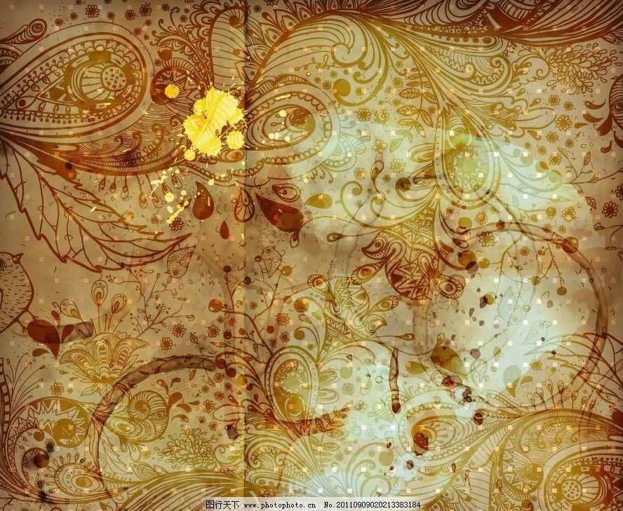 墨迹手绘古典花纹欧式花纹图片