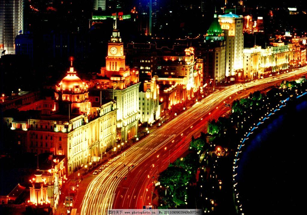 钟楼 主干道 万国建筑群 老建筑 欧式建筑 城市夜景 灯光 霓虹灯 亮化