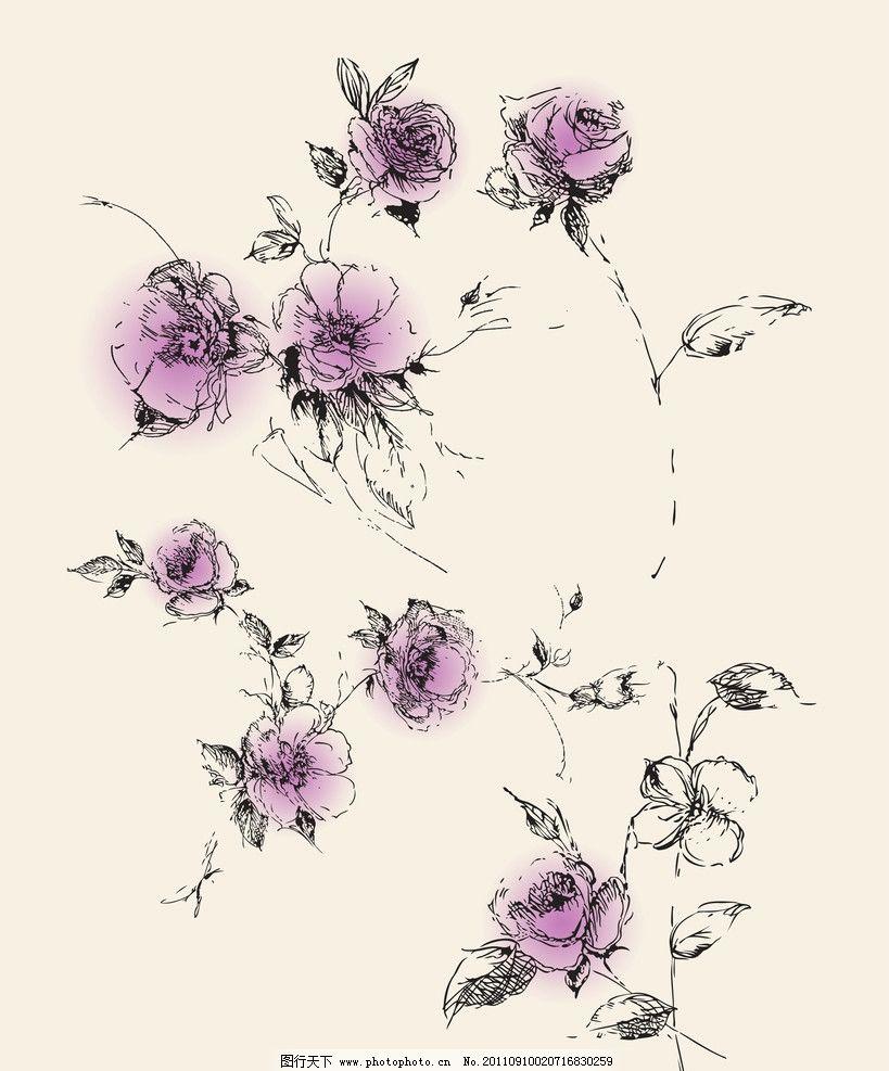 韩式花纹 韩式 花纹 韩国 手绘 花 雅致 帝歌 玫瑰 玫瑰花 叶子 线花