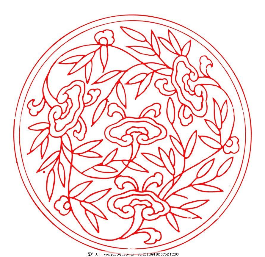 传统古典图案 中国红 红色 中国设计 吉祥图案 古典纹样 剪纸