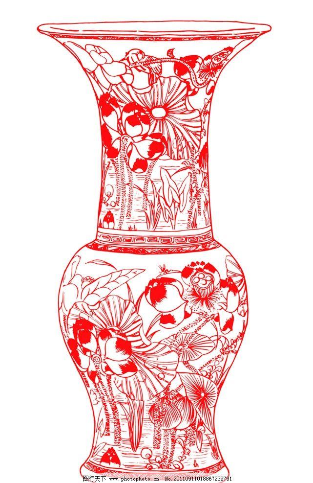 古典纹样 剪纸 春节 年画 传统年画 纹样 边框图案 荷花 底纹 花瓶