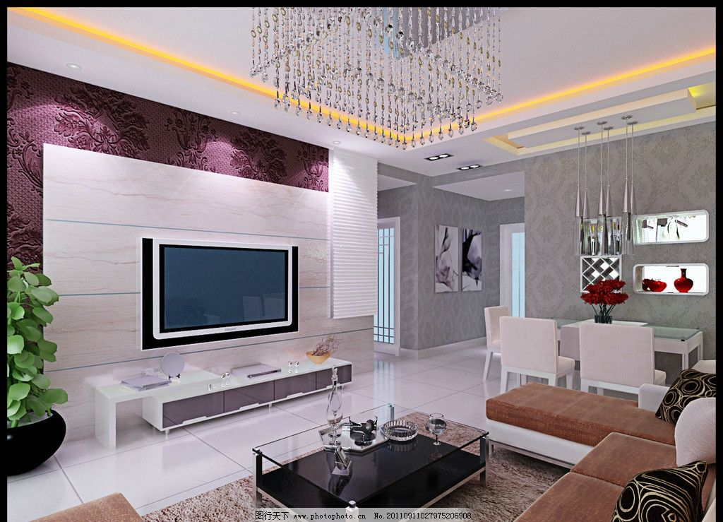 客厅效果图      吊顶 电视墙 灯 装修 室内设计 环境设计 设计 28dpi