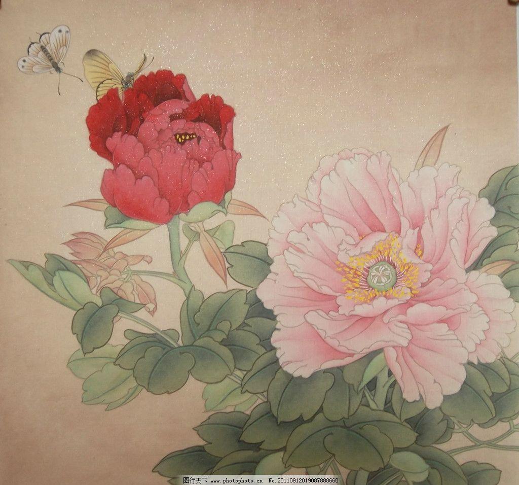国画牡丹 国画 工笔 工笔画 工笔牡丹 牡丹 蝴蝶 绘画书法 文化艺术