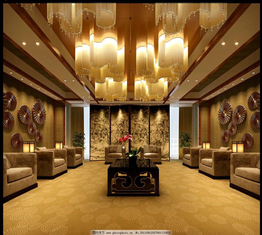 接待厅效果图 会客室 接待室 会客厅 装修设计 灯光设计 云型水晶灯