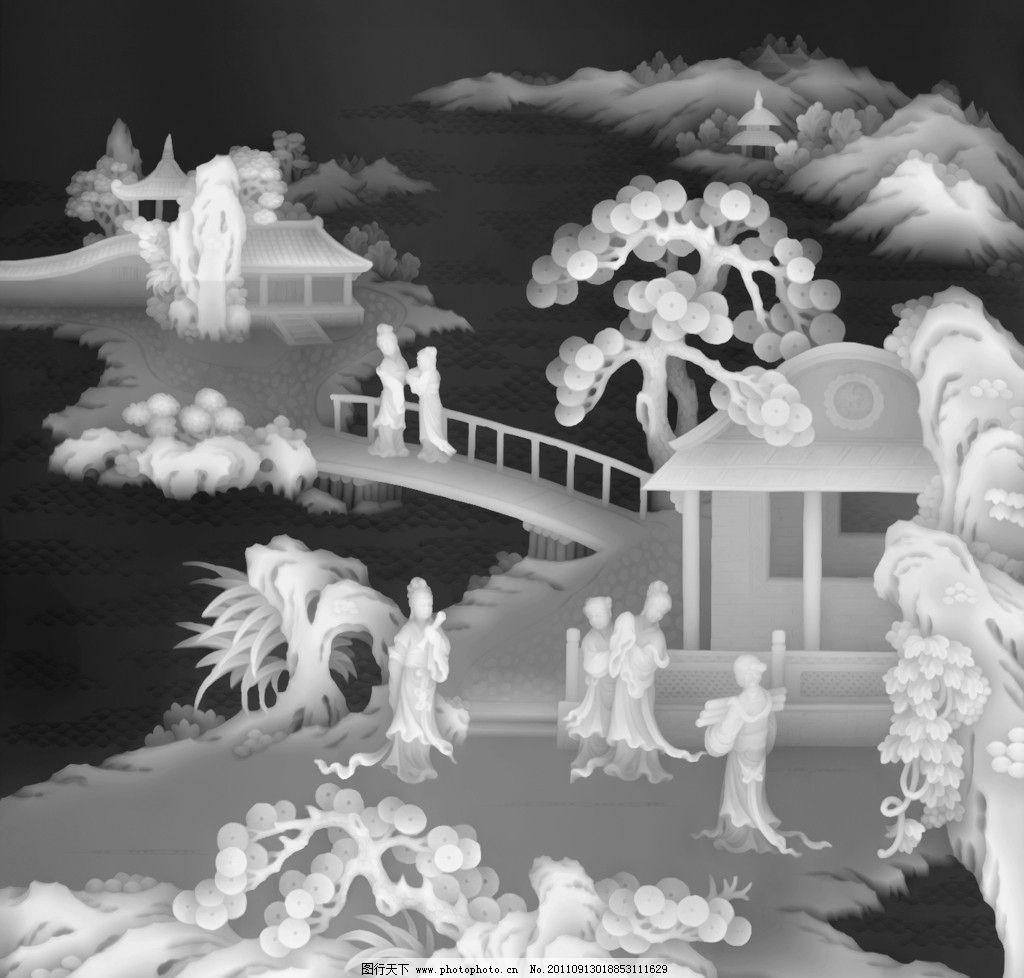 黑白图 精雕图 浮雕 传统浮雕 仙子 木雕 山水浮雕图 传统文化 文化