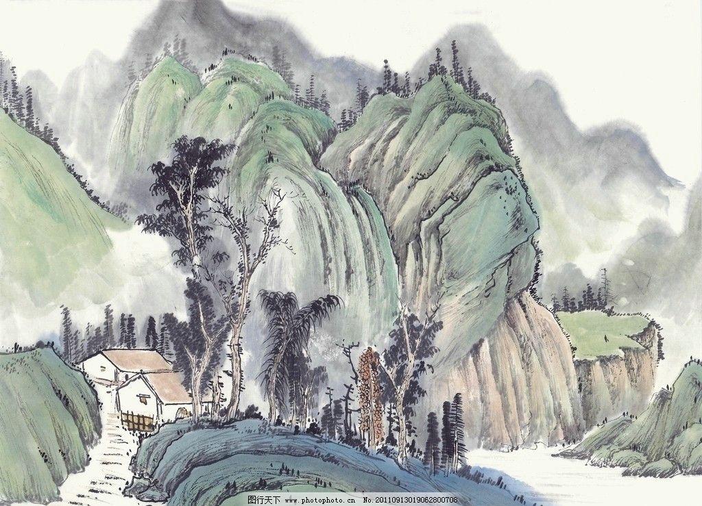 设计图库 展板展架 安全公益展板  山中访友 写意山水 高清中国山水画