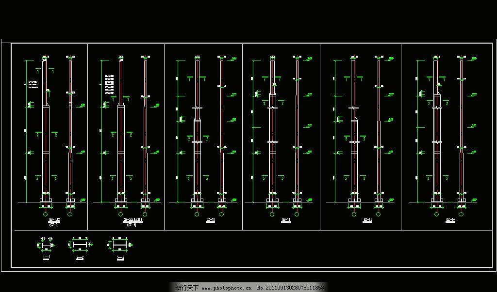 钢结构柱详图 cad 施工图 钢结构 网架 桁架 节点 轻钢 钢构 工程
