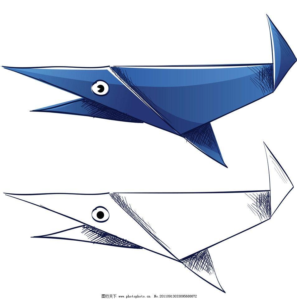 鲨鱼 折纸 花样 插画 修饰 装饰 质地 材质 psd分层素材 源文件 299