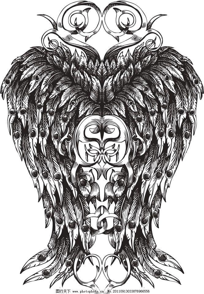 手绘羽毛翅膀花纹 手绘 羽毛 翅膀 花纹 欧式 时尚 矢量 矢量其他
