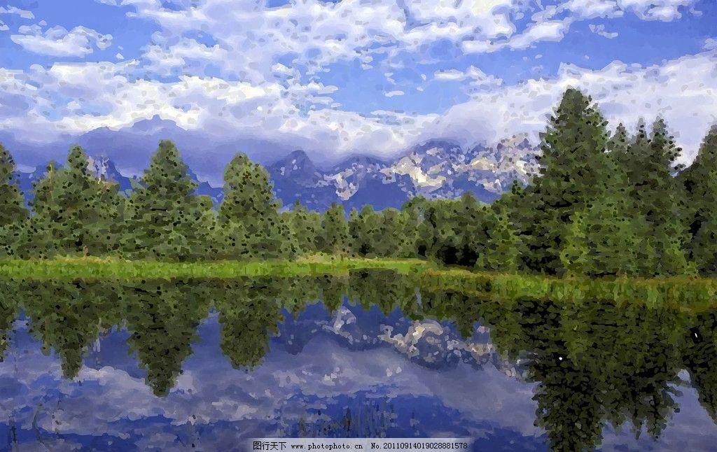 国家公园森里油画美丽风景图片