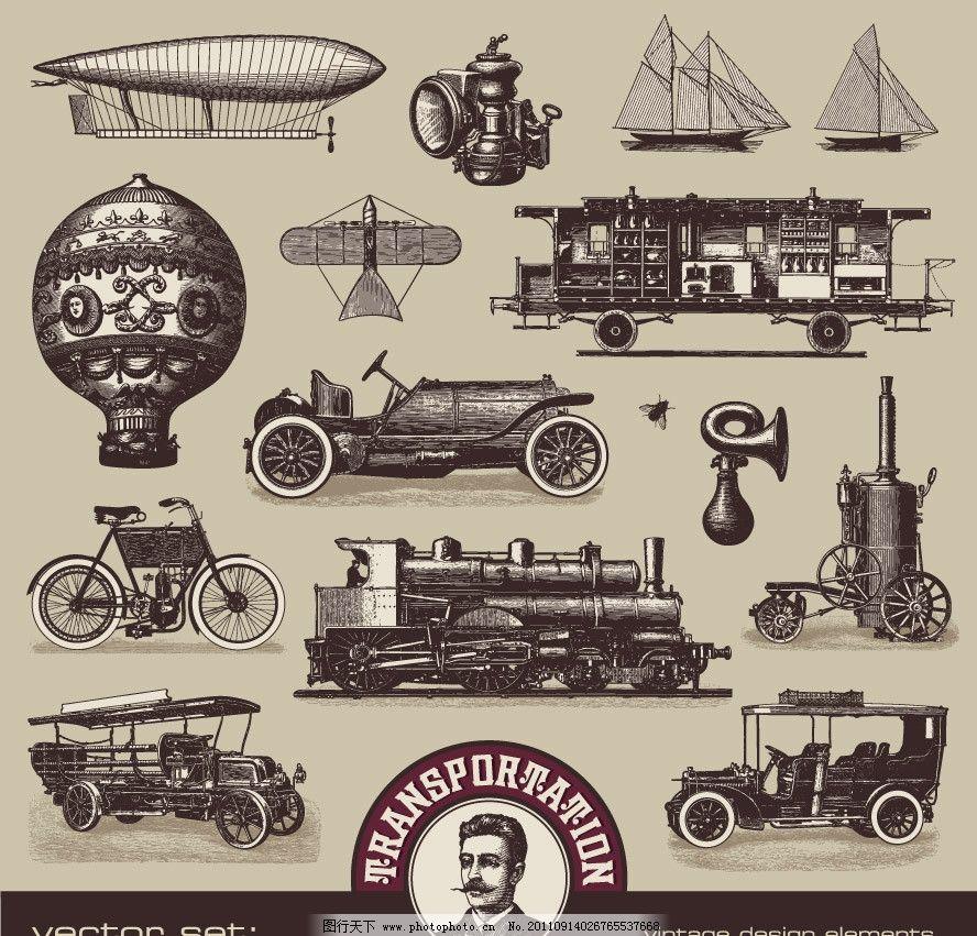 手绘怀旧古代交通工具矢量图片
