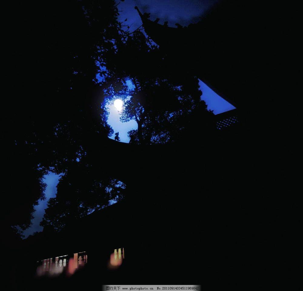 夜景星空 夜晚 星空 月亮 树木 大树 民宅 微微灯火 灯火 微光 深蓝