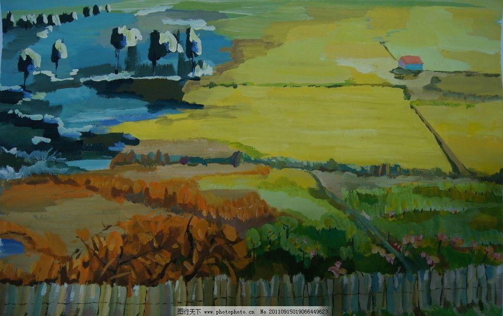设计色彩 春夏秋冬 手绘水粉设计色彩 装饰画 水粉风景 绘画书法 文化