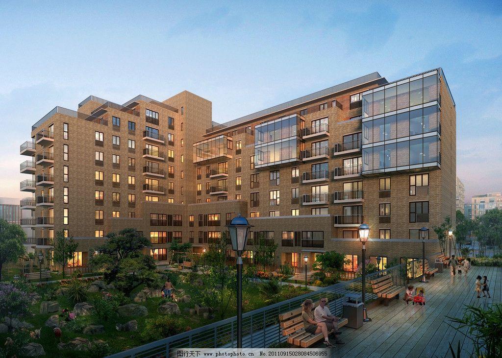 现代住宅效果图 黄昏偏夜景 树 人 休闲椅 建筑 灯 玻璃 建筑设计图片