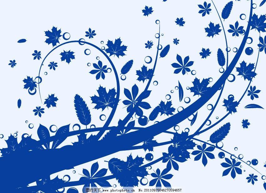 花纹树枝笔刷 叶子 藤蔓 艺术 装饰 枝叶 枝条 源文件