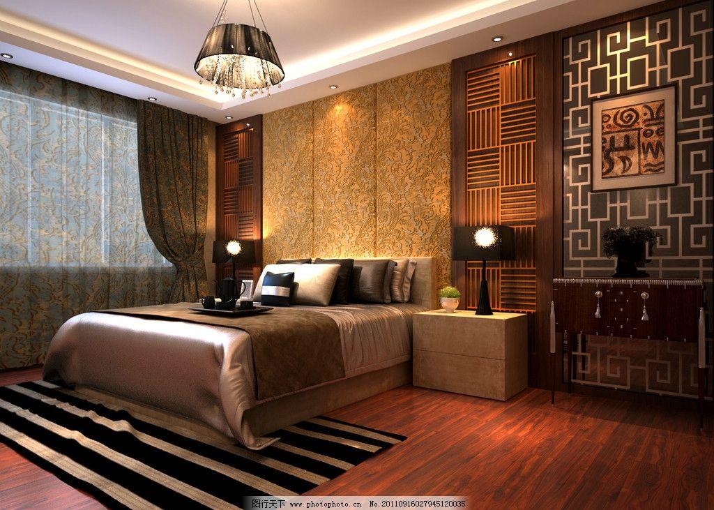 大床 床头柜 雕花式床头背景 欧式 豪华 立面 空间 棕色调 室内