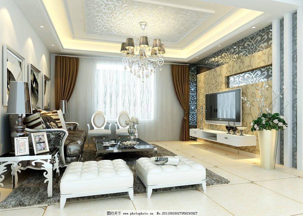 客厅效果 客厅效果图 欧式 豪华 吊顶 室内设计 环境设计 设计 72dpi