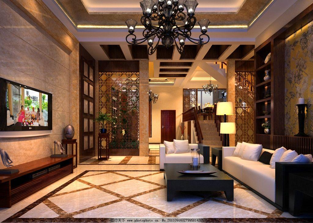 客厅效果图 欧式 古典 豪华 古典吊灯 缕空 室内设计 环境设计